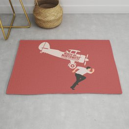 North by northwest, Alfred Hitchcock minimalist movie poster, thriller, Cary Grant, Eva Marie Saint Rug