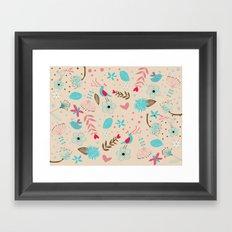 Singing birds in flowers Framed Art Print