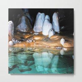 Watercolor Rock, Lechuguilla Cave 20, New Mexico, Turquoise Shores Metal Print