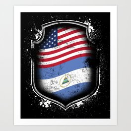 Nicaraguan American Flag Art Print