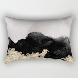 Golden sparkle black ink Rectangular Pillow