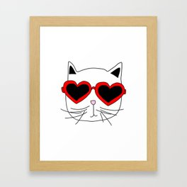 Cat Heart Sunglasses Framed Art Print