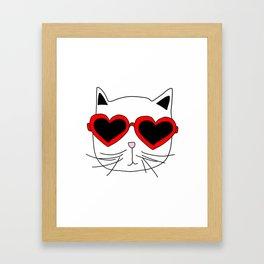Cat Heart Sunglasses Framed Art Print