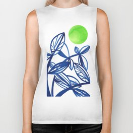 Navy blue and lime green abstract leaves Biker Tank