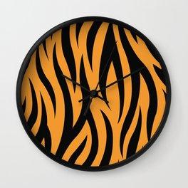 Tiger Stripes Pattern - Orange, Black Wall Clock