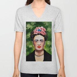 Frida Kahlo in thick textured oil on canvas Unisex V-Neck