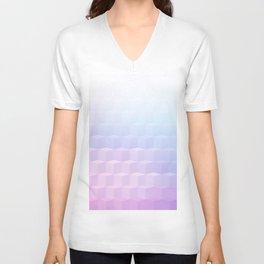 Pastel Cube Pattern Ombre 1 - pink, blue and vi Unisex V-Neck