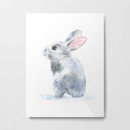Gray Bunny Rabbit Watercolor Painting Metal Print