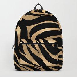 Elegant Metallic Gold Zebra Black Animal Print Backpack