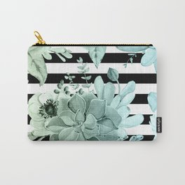 Succulents in the Garden Teal Blue Green Gradient with Black Stripes Carry-All Pouch