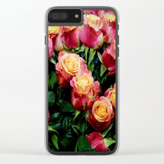 Red Orange Roses Clear iPhone Case