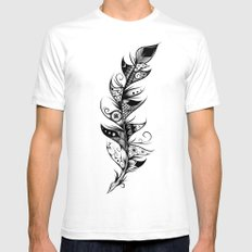 Feather White Mens Fitted Tee SMALL