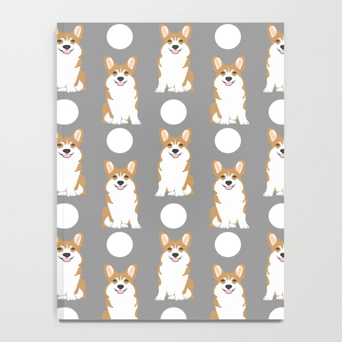 Corgi polka dot pattern grey cute corgi dog for dog people Notebook