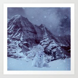 Evening winter landscape. Arctic fox on the background of mountains. Art Print