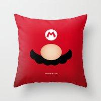 mario Throw Pillows featuring MARIO by Alberto Lamote de Grignon
