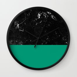 Emerald Meets Black Marble #1 #decor #art #society6 Wall Clock