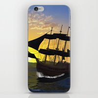 pirate ship iPhone & iPod Skins featuring Pirate ship  by nicky2342
