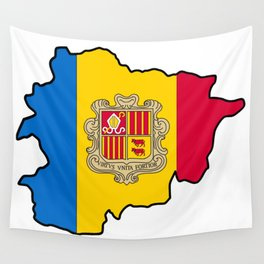 Andorra Map with Andorran Flag Wall Tapestry