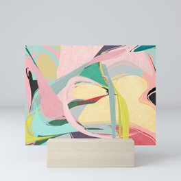 Shapes and Layers no.23 - Abstract Draper pink, green, blue, yellow Mini Art Print