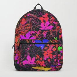 maple leaf in yellow green pink blue red with red and orange creepers plants background Backpack