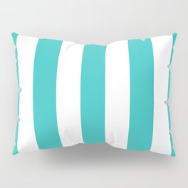 Maximum blue green - solid color - white vertical lines pattern Pillow Sham