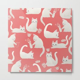 Bad White Cats Knocking Things Over Metal Print