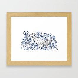 Whale Then Framed Art Print
