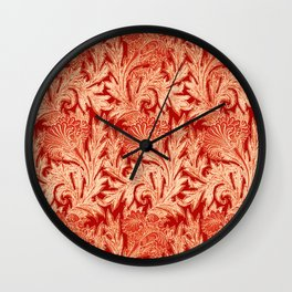 Jacobean Flower Damask, Mandarin and Light Orange Wall Clock
