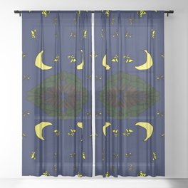 forest with moon and stars (5-2-19) Sheer Curtain