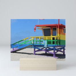 Rainbow Lifeguard Stand (Venice, California) Mini Art Print