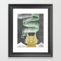 Lynx in Northern Lights Framed Art Print