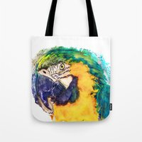 parrot Tote Bags featuring Parrot by jbjart