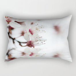 white cherry blossom and water reflection Rectangular Pillow