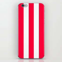 Carmine red - solid color - white vertical lines pattern iPhone Skin