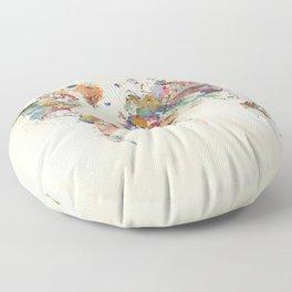 world map watercolor Floor Pillow