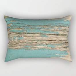 Rustic Wood Ages Gracefully - Beautiful Weathered Wooden Plank - knotty wood weathered turquoise pai Rectangular Pillow