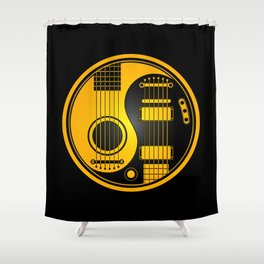 Yellow and Black Acoustic Electric Yin Yang Guitars Shower Curtain