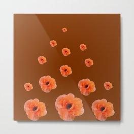 ORANGE POPPY FLOWERS ON COFFEE BROWN Metal Print