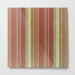 Retro Stripes Yellow Rust Brown Grunge Primitive Stripe Metal Print