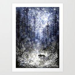 Cold December Moon Art Print