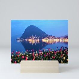 Tulips - Lake Lugano, Switzerland Landscape Photograph Mini Art Print