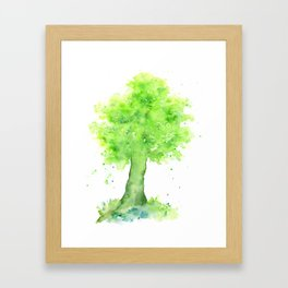 Watercolor Spring Oak Tree Framed Art Print