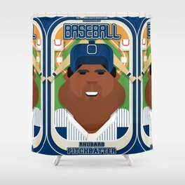 Baseball Blue Pinstripes - Rhubarb Pitchbatter - Hayes version Shower Curtain