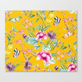 Chinoiserie mustard yellow floral Canvas Print