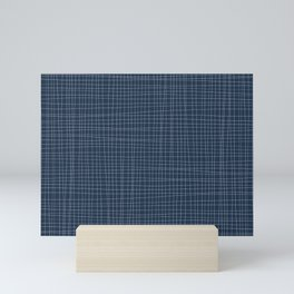 Blue and White Grid - Disorderly Order Mini Art Print