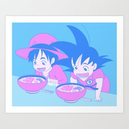 Ramen Eating Contest (Nostalgic Anime Scene) Art Print