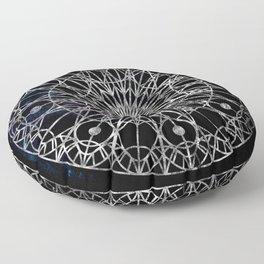Rosette Window - Black Floor Pillow