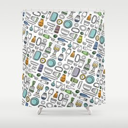 Trendy kitchen Shower Curtain