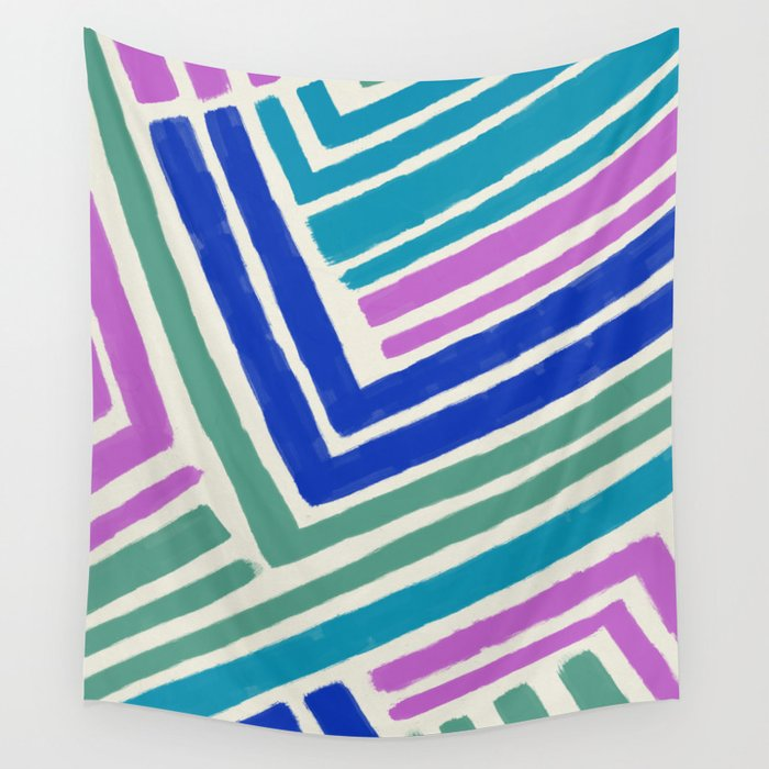 Color Lines Connections / Abstract Brushstrokes Pattern Wall Tapestry