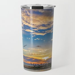 Daisys and Seagull at Sunset Travel Mug